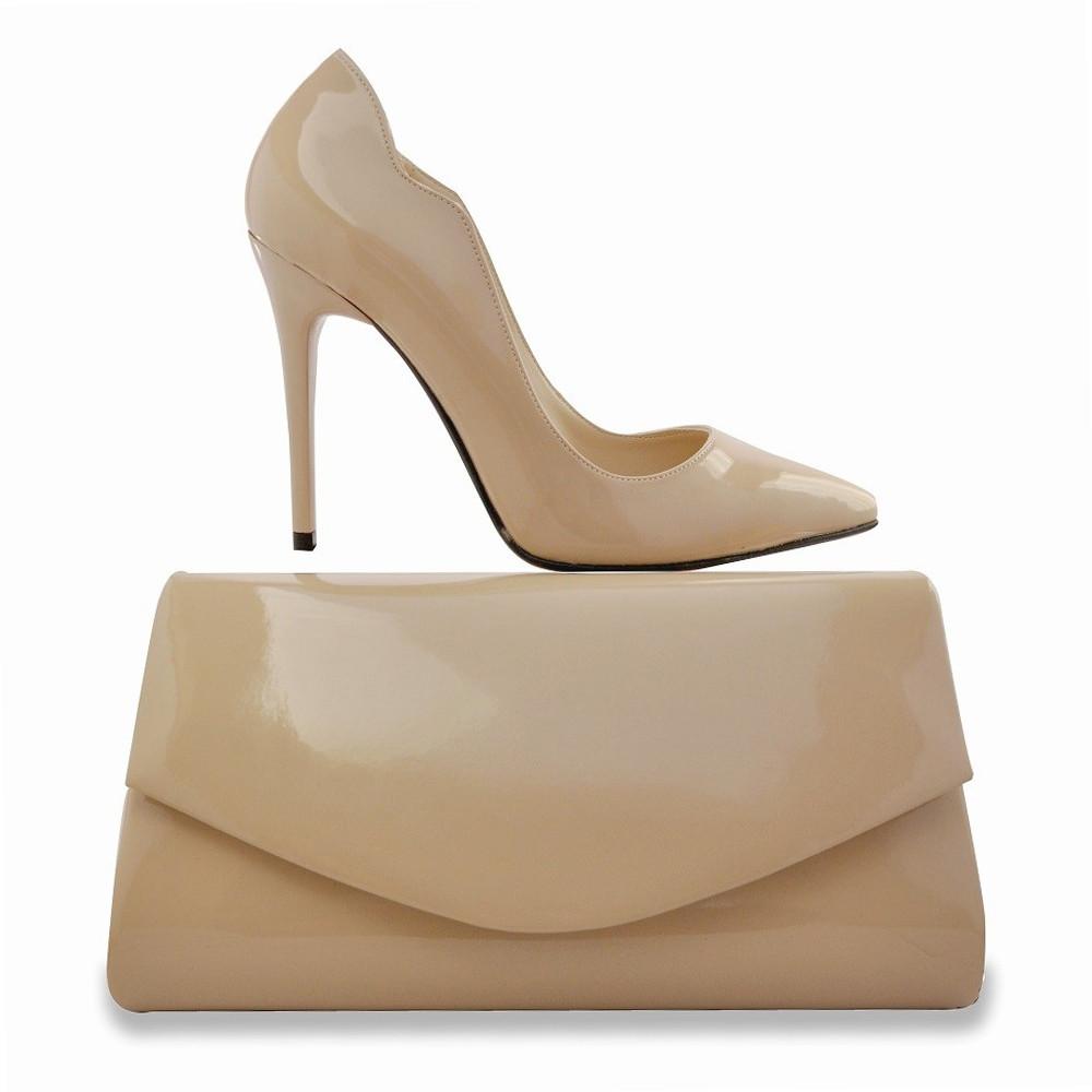 43fe124859177 Stiletto Ten Rugan Topuklu Bayan Krem Ayakkabı Portföy Çanta Hediyeli