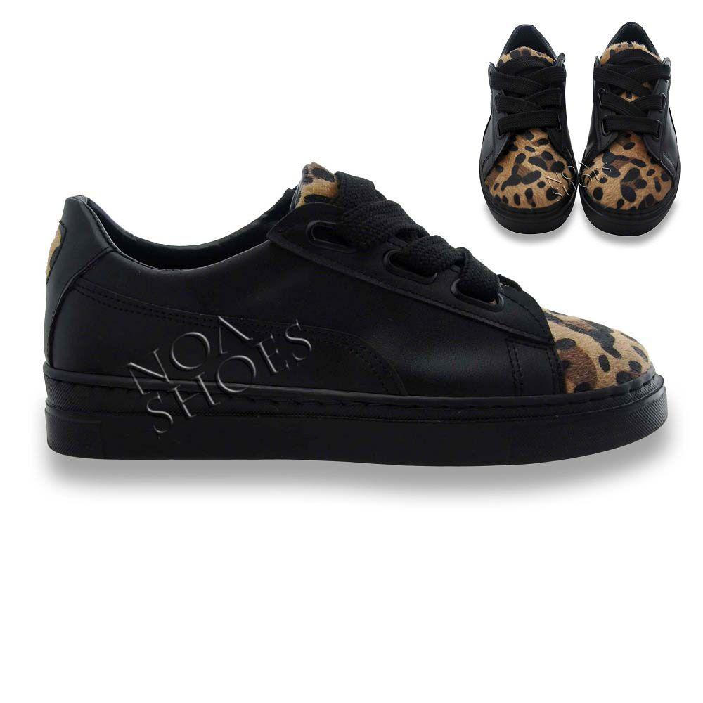 c0d92b8fdd115 Siyah Bayan Spor Ayakkabı Kalın Bağcıklı Burnu Leopar Tüylü Rahat ...