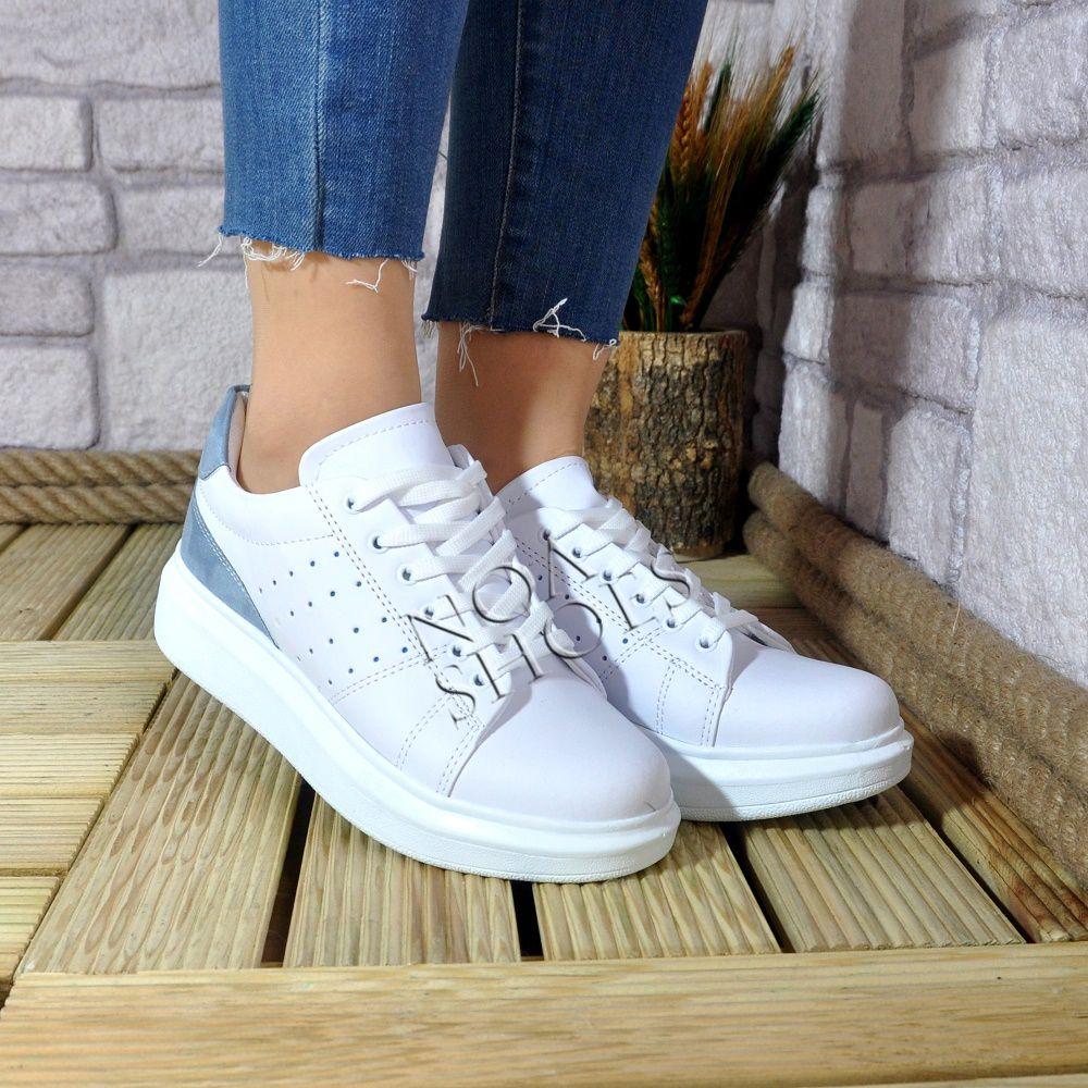 4359139db5a Beyaz Sneakers Kadın Kalın Taban Mavi Süet Spor Ayakkabı | Noa Shoes ...