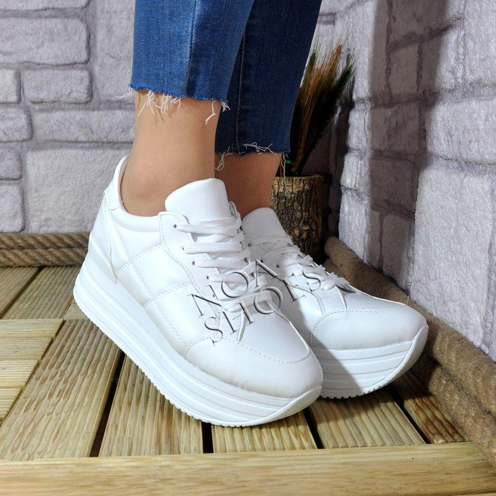 Kadın Spor Ayakkabı Yüksek Taban Mat Beyaz Günlük Sneakers Noa