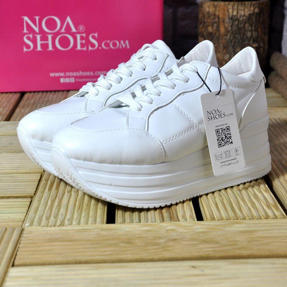Kadin Spor Ayakkabi Yuksek Taban Mat Beyaz Gunluk Sneakers Noa