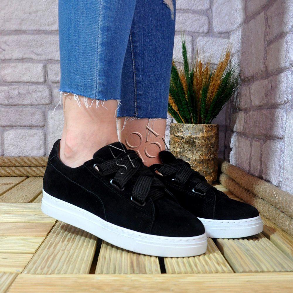 53bdbcf6bd2ce Kadın Siyah Süet Spor Ayakkabı Kalın Bağcıklı Beyaz Taban   Noa ...