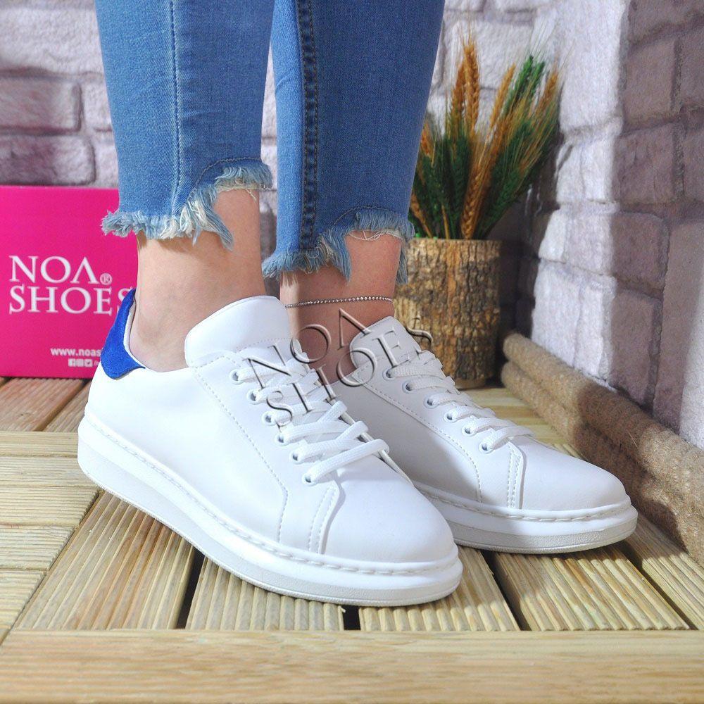 c772b78da99 Beyaz Kadın Spor Ayakkabı Arkası Koyu Mavi Kalın Taban | Noa Shoes ...