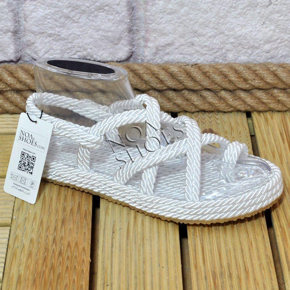 Beyaz Halat Sandalet Kadin Ipli Ayakkabi Noa Shoes Terlik Noa Shoes Turkiye