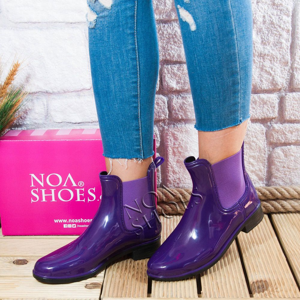 Yagmur Botu Lastik Noa Shoes Su Gecirmez Mor Bayan Cizme Noa Shoes Turkiye