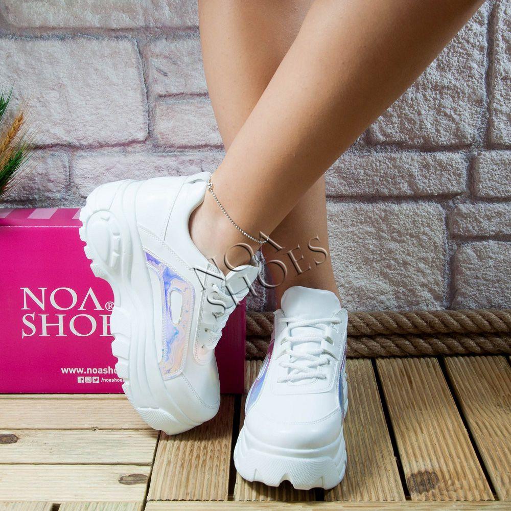 39049b4942754 Kadın Spor Ayakkabı Beyaz Hologram Noa Shoes Kalın Dolgu Yüksek Taban